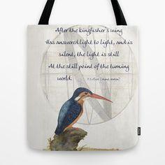 Burnt Norton's Kingfisher Tote Bag by anipani - $22.00