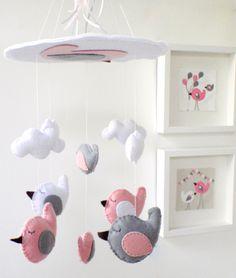 """Bird nursery mobile - Unique Baby Crib Mobile - Custom colors - Pink and Grey Bird Mobile """"Sleeping Birds in the sky"""" Nursery Crib, Nursery Room Decor, Girl Nursery, Nursery Ideas, Bird Mobile, Felt Mobile, Cloud Mobile, Kids Sleep, Baby Sleep"""