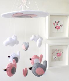 "Baby Crib Mobile - Baby Mobile - Nursery Crib Mobile - Pink and Grey Bird Mobile ""Sleeping Birds in the sky"". $70.00, via Etsy."