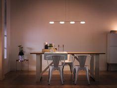 Corp de iluminat suspendat cu becuri LED cu un design minimalist, ideala pentru un living sau pentru luminarea unei mese de luat cina. Lustra este prevazuta cu becuri LED de cea mai buna calitate garantata de Philips pentru 20.000 de ore de functionare. Designul modern, instalarea usoara prin sistemul ClickFix si posibilitatea reglarii inaltimii recomanda aceasta lustra. #lustra #iluminat #philips #living #canpower Minimalism, Dining Table, Interior, Furniture, Home Decor, Modern Chandelier, Decoration Home, Indoor, Room Decor