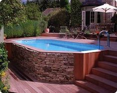 Above Ground Pool Landscaping, Backyard Pool Landscaping, Backyard Pool Designs, Small Backyard Pools, Pool Fence, Pool And Patio, Pool With Deck, Landscaping Ideas, Backyard Ideas