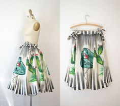1950s Mexican Circle Skirt / 50s Hand Painted by FemaleHysteria Female Hysteria, Mexican Skirts, Circle Skirts, 1950s Fashion, Vintage Skirt, Nifty, Cotton Canvas, Hand Painted, Patio
