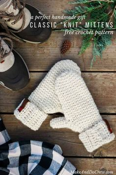 This is crochet? This free crochet mitten pattern uses the waistcoat stitch (aka the center single crochet stitch) to create a classic knit look. And the Lion Brand Fishermen's Wool makes them naturally water resistant! Get the free Morning Mittens patte Crochet Mitts, Crochet Mittens Pattern, Crochet Gloves, Knit Mittens, Free Crochet, Knitting Patterns, Crochet Patterns, Striped Mittens, Crochet Geek