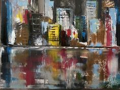 """Oil painting with palette knife. City Scene 9 x 12"""" on canvas #nicoleslater #painting #cityscape"""