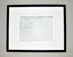 love this: city print of san francisco extracted from the city grid but comprised of only thin vertical black ink lines
