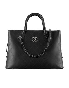 Shopping tote, grained calfskin-black - CHANEL