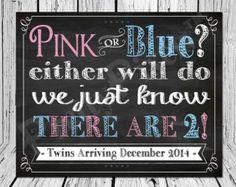 Custom Chalkboard Pregnancy Announcement Sign, Chalkboard Twins Announcement, Twins Baby Announcement - Custom Baby Announcement