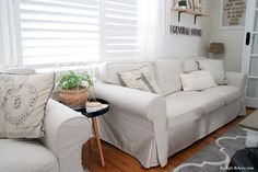I have always had white Ektorp sofa covers. I love my white covers, UNTIL they start to look grubby. I also only have one set of covers. Ektorp Sectional, Ektorp Sofa Cover, Sofa Covers, Ikea Couch, Beige Sofa, Home Decor Furniture, Apartment Ideas, Interior Inspiration, Farmhouse Decor