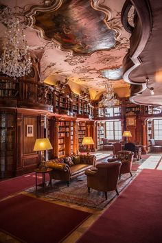 The Max Reinhardt Library in Schloss Leopoldskron. This incredible rococo library, was modelled after the St. Gallen's monastery library in Switzerland. The palace is located on the beautiful lake Leopoldskroner Weiher a southern district of the city of Salzburg, Austria.