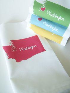 I Love Washington  Napkins in Pop Color- Set of FOUR. $24.00, via Etsy.