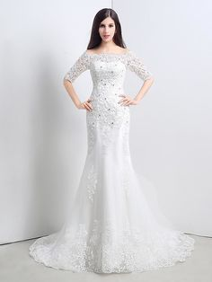 Trumpet/Mermaid Wedding Dress - Ivory Sweep/Brush Train Strapless Lace / Tulle - USD $99.99