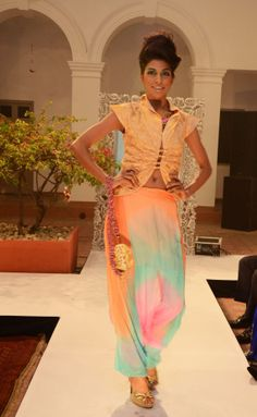Triple-shade chiffon sheer Turkish pants (INR 4490) and copper textured-net jacket with Front ruching detailing (INR 3990)