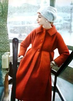 Madame Grès ~ coat in L'Officiel December 1958 red will coat empire waist button front designer late 50s pleated babydoll shape