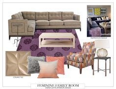 Neutrals, purples and peaches make this family room scheme extra cozy.  #fifthwallfriday #ceilume #ceiling #interior #design #diy #familyroom