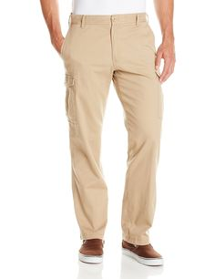 IZOD Men's Flat Front Straight Fit Stretch Cargo Pant, Cedar Wood Khaki, 30x30