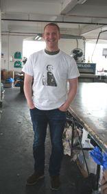 Joe wearing the t-shirt he printed