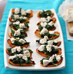 There's nothing fancy about this appetizer, just the layer of great flavors that compliment each other like spice sweet potatoes and sweet-tangy chevre.