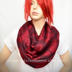 Dark Bordo  Pashmina Infinity scarf with Red leaves by Pixiesdance, $29.00