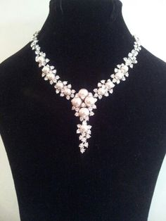 Pearl and swarovski crystal bridal necklace