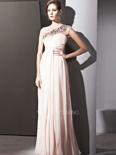 2013 Style A-line One Shoulder Rhinestone Sleeveless Floor-length Chiffon Prom Dresses / Evening Dresses (SZ0274675) - FabHomecomingDress.com
