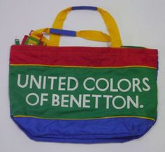 vintage rare united colors of benetton bag ucb multi color block hip hop tote - Sac United Colors Of Benetton