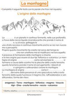 La Montagna: Schede Didattiche per la Scuola Primaria | PianetaBambini.it Italian Language, Problem Solving, Learning, Astro, Montessori, Google, Preschool, Poster, Names