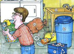 31. laundry bag 32. utility sink 33. scrub brush 34. sponge 35. bucket/pail 36. trash can/garbage 37. recycling bin