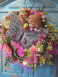 RUSTIC LEOPARD BUTTERFLY Spring wreath with by faucettandflame, $89.99