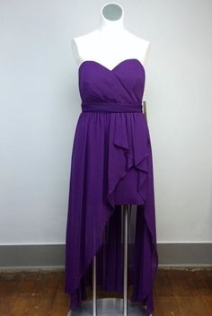 NWT Cinderella Design XL Purple Strapless Formal High Low Gown Cocktail Dress #CinderellaDesign #HighLowCocktailGown #Formal