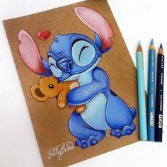 Art Drawings Sketches, Cartoon Drawings, Easy Drawings, Disney Character Drawings, Cute Disney Drawings, Drawing Disney, Disney Stich, Disney Kunst, Stitch Drawing