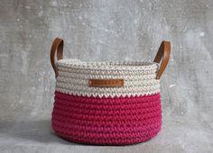 Handmade Crochet Cotton Basket in cream/ magenta pink- Home Decor- Storage Basket- Crochet Basket- Home Decor Organization