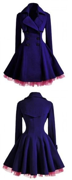 Double Breast Coat In Purple