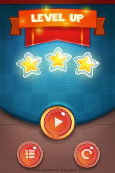 """From the game Glossy Star. I like the glossy effect used on the buttons and """"Level Up"""". I also like how there is little to no font used here just easy to read icons."""