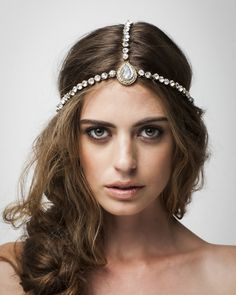 Bo and Luca - Embellished headpiece 2 Gatsby Headpiece, Headpiece Wedding, Bridal Headpieces, Bridal Hair, Bridal Makeup, Indian Headpiece, Bridesmaid Headpiece, Headdress, Wedding Makeup