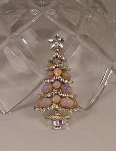 OOAK Opal and Crystal Christmas Tree Brooch Handcrafted One Of A Kind