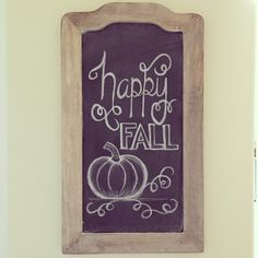 """Adorable """"happy FALL"""" chalkboard art idea with a cute little pumpkin at the bottom. Great for autumn/fall/Thanksgiving. Fall Chalkboard Art, Chalkboard Doodles, Blackboard Art, Chalkboard Writing, Kitchen Chalkboard, Chalkboard Drawings, Chalkboard Lettering, Chalkboard Designs, Chalkboard Ideas"""