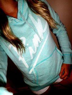 Pink by Victoria's Secret mint blue pull over sweatshirt hoodie euc sz S