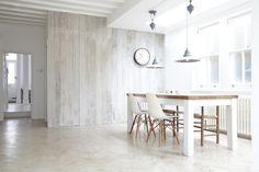 Love the whitewash timber walls