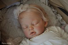 Sweet Sleeping Toddler ARIANNA by Reva Schick OOAK Baby Girl Doll. Crystals newest baby. Paris Alley on Ebay now.