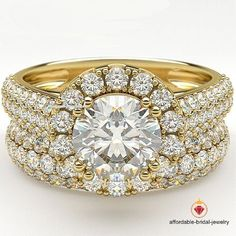 14K Yellow Gold Finish 1.20 Ct Bridal Engagement Diamond Rings Wedding Band Sets #Affoin8 #SolitaireWithAccents