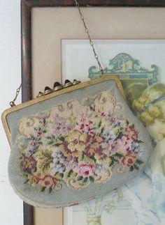 Edwardian petit point evening bag purse