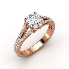 Round Diamond 14K Rose Gold Ring with Diamond | Jillian Ring | Gemvara