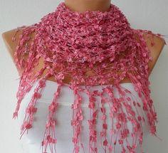 Pink Shawl   Scarf   Women  Handmade Work  Cowl  by fatwoman, $18.00...beautiful