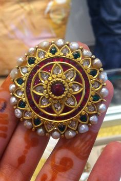 Ear Clip in Kundan with polki, rubies and pearls at Amrapali