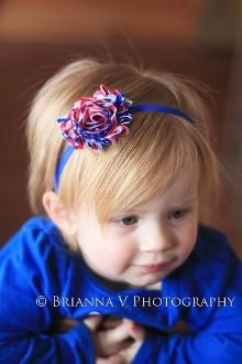 "3"" Shabby Chic Flower Clip on Skinny Headband- Red/White/Blue"
