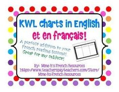Do you need a KWL chart to use in your French class?This FREE KWL chart is available in English and in French.  In English the categories are as usual:K (What I know)W (What I want to know)L (What I learned)This French KWL has 3 categories in French:(S - Ce que je sais)(V - Ce que je veux savoir)(A - Ce que j'ai appris)