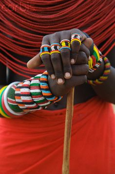 Hands of a Samburu Tribeswoman, Kenya. The Samburu are semi-nomadic pastoralists who herd mainly cattle but also keep sheep, goats and camels.