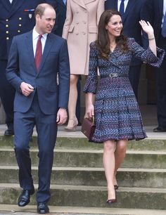 Middleton embraced Paris on her weekend visit, wearing a chic printed blue coatdress from Chanel, accented with a double-C belt and quilted handbag from the historic brand. She wore the stylish ensemble on a visit to Les Invalides and Musée d'Orsay.