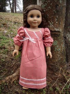1815 Pink Diagonal-Pattern Regency Dress for American Girl Dolls - by Morgan May @ Stardust Dolls