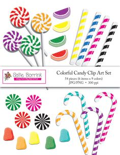 So many colorful and tasty uses for this candy clip art! Candy canes, gumdrops, fruit slices, lollipops and more!